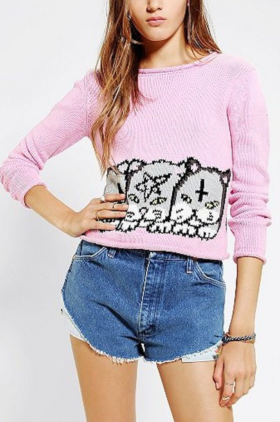 sweater cats pullover cats hoodie whiskers pastel pink cats