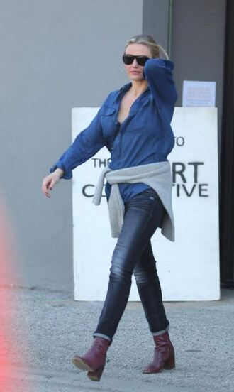 shoes boots cameron diaz denim shirt