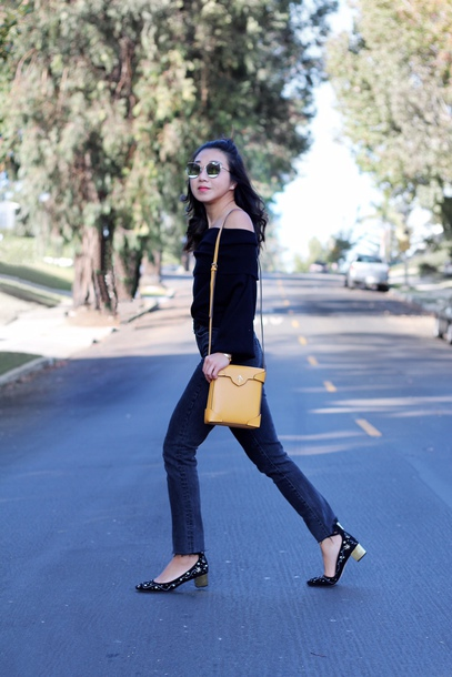 bag black sweater tumblr off the shoulder off the shoulder sweater knit knitted sweater shoes denim jeans yellow bag