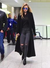 jeans,cool,coat,blouse,gigi hadid,sunglasses,boots