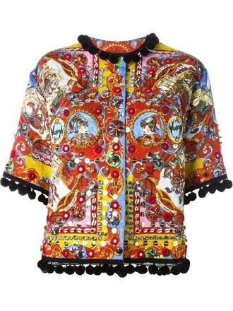jacket women spandex cotton print silk red