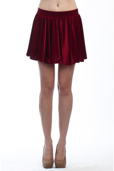 LoveMelrose.com From Harry & Molly | VELVET SKATER SKIRT BURGUNDY