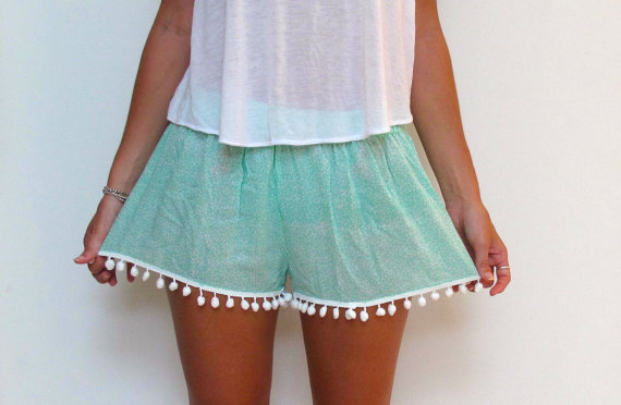Pom Pom Shorts  Mint and White Daisy Pattern  White by ljcdesignss