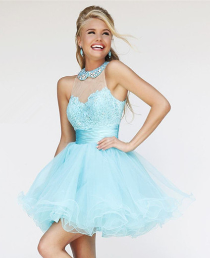Aliexpress.com : Buy Beaded Lace High Neckline Floral Bust Satin Belt Ball Gown Sweet Mini Cocktail Dress from Reliable dress scrub suppliers on Aojia Top Evening Dress