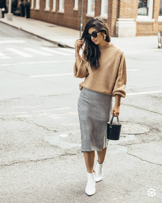 shoes tumblr boots white boots ankle boots skirt grey skirt plaid plaid skirt sweater camel camel sweater sunglasses