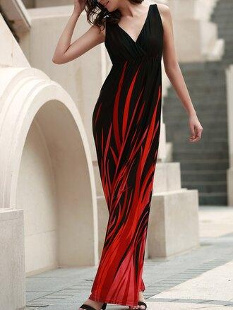 dress gamiss red black dress maxi dress sleeveless summer style