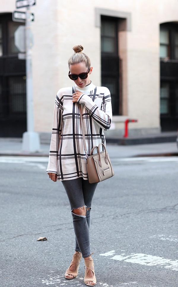 brooklyn blonde blogger grid ripped jeans celine bag