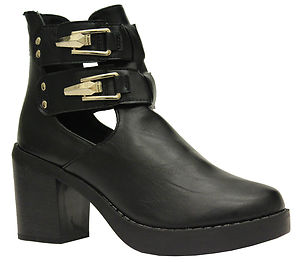 Ladies block heel womens gold buckle strap chunky cut out ankle boots shoes size
