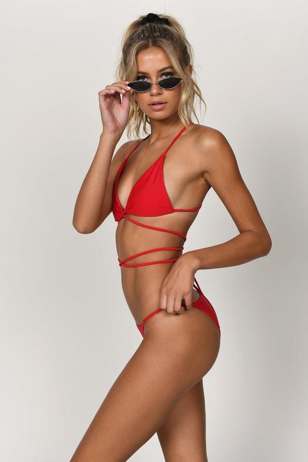 Set Free Red Triangle Bikini Top