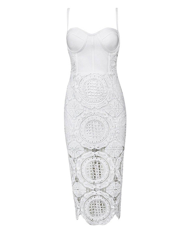 Amazon.com: UONBOX Women's Lace Bodycon Midi Bandage Dress With Spaghetti Strap: Clothing
