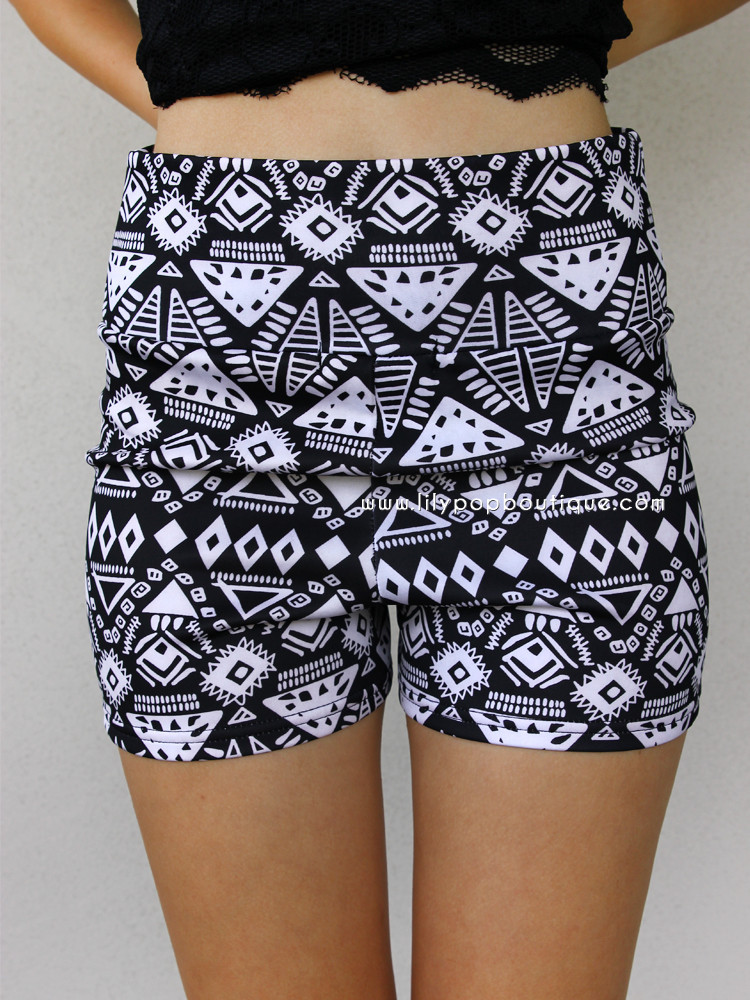Geometric tribal high wasited shorts – lilypopboutique