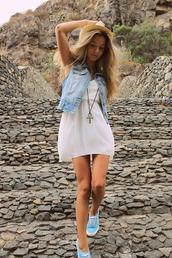 dress,white dress,summer dress,summer,tumblr girl,tumblr,tumblr clothes,nice,forever young,sexy,sexy dress,jeans,denim jacket,light blue,feet,blonde hair,vans,coat