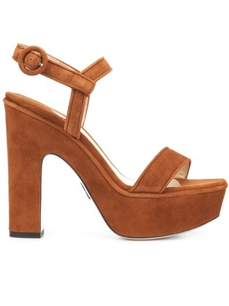 women sandals suede brown shoes