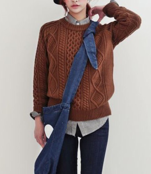 Sweater: chocolate brown cable knit sweater, cable knit, cable ...