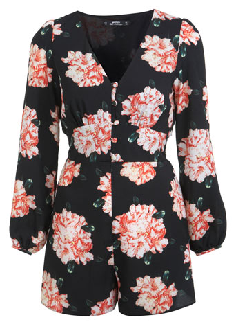 Petites Orange Floral Playsuit - Playsuits & Jumpsuits  - Clothing  - Miss Selfridge
