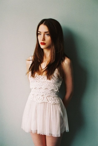 dress white white dress cream crochet lace tumblr cute hipster vintage lace dress ballet chiffon cream dress short