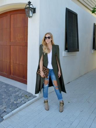 fash boulevard blogger cape animal print bag ripped jeans