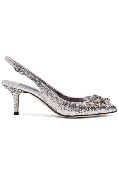 Dolce & Gabbana embellished pumps silver leather shoes