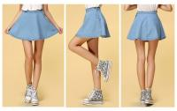 Women's High Waist Sexy Denim A Line Mini Skirts Pleated Skirts Light Blue M ZXJ   eBay