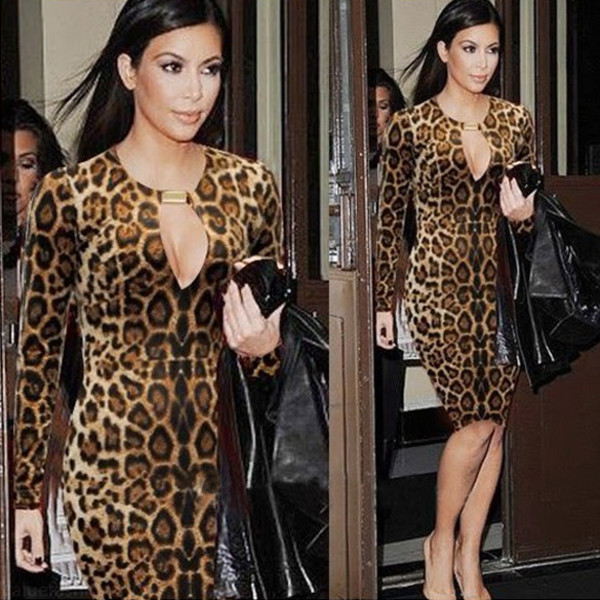 dress leopard print kim kardashian