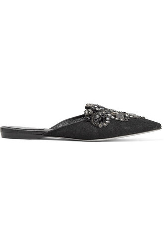 embellished slippers lace black shoes