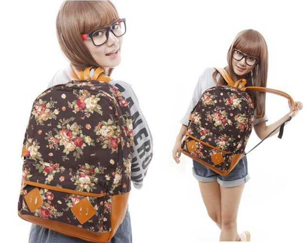 Free Shipping !New Arrivals Floral Printed Canvas Backpack College New Fashion Girls' School Bag Women Flowers Rucksack-in Backpacks from Luggage & Bags on Aliexpress.com