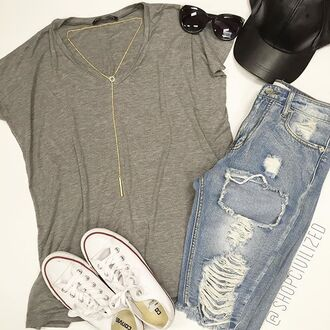 shorts denim denim shorts bermuda gray grey t-shirt jewels hat necklace gold necklace lariat necklace ychain necklace y-chain jewelry