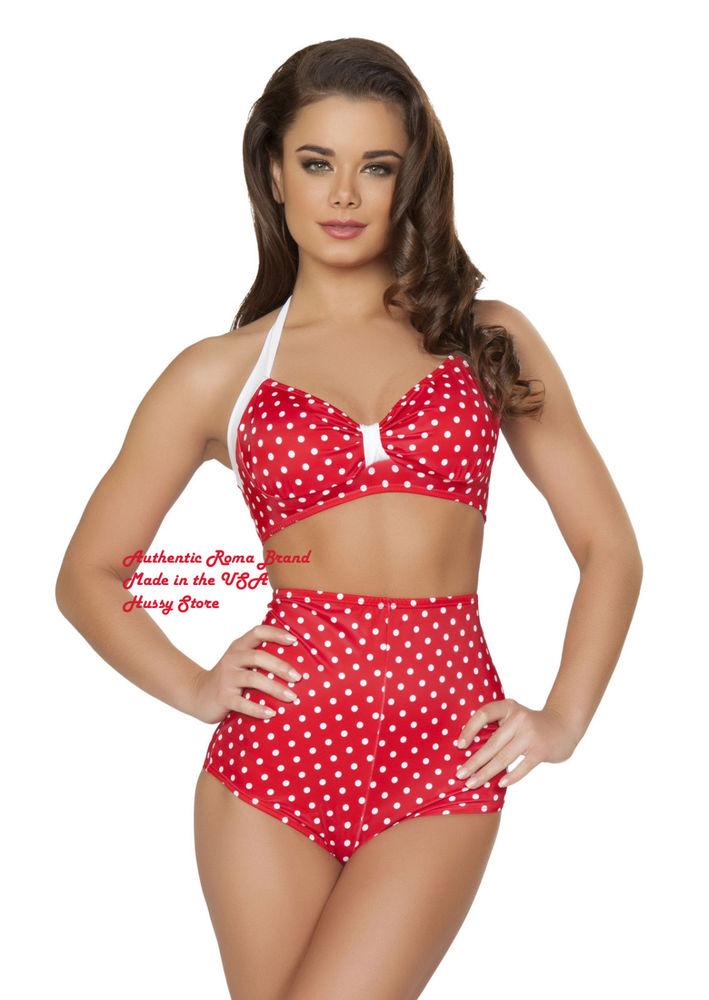 8a6a16f8e9f Red White Polka Dot Vintage Retro Pin Up High Waisted Swimsuit Bikini Set  USA