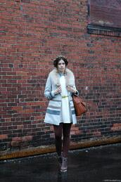 orchid grey,coat,dress,t-shirt,belt,shoes,sweater,bag,jewels