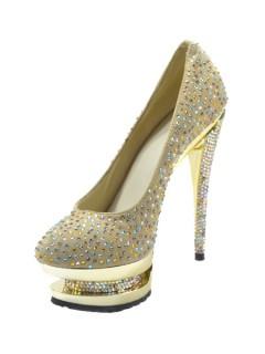Rhinestones pointed high heels with platform