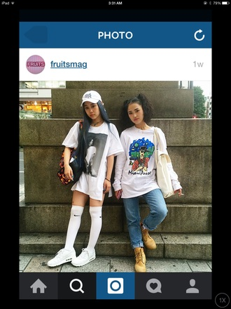 hat timberlands sneakers foowear summer white t-shirt asian fashion style dope streetwear instagram fashion nike running shoes thigh highs blue jeans oversized t-shirt socks sunglasses t-shirt shoes