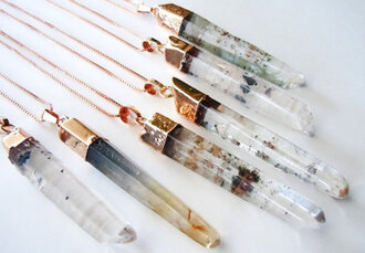 jewels necklace crystal quartz boho pendant raw stone