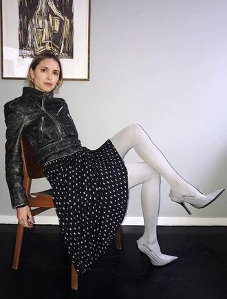 jacket biker jacket pernille teisbaek instagram blogger pumps tights spring outfits shoes