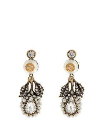 pearl embellished earrings white jewels