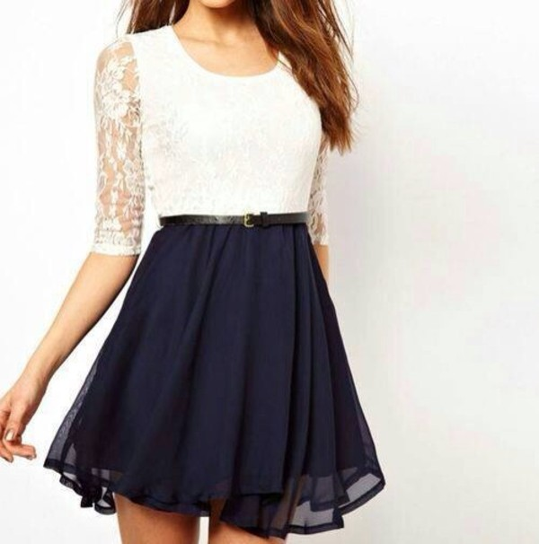 skirt white shirt blue skirt taille haute lace flirty lovely