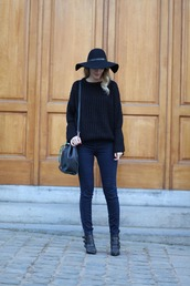 from brussels with love,blogger,jeans,shoes,bag,hat,felt hat,black hat,black sweater,bucket bag,ankle boots,winter outfits,bell sleeve sweater,sweater,zaful
