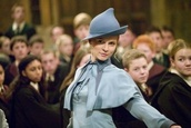 fleur delacour,beauxbatons,harry potter,blue shirt,blue hat,hat,bowler hat,clemence poesy,blouse,t-shirt,school uniform,magical