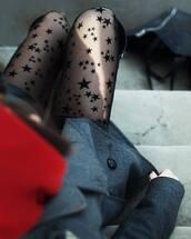 tights,tumblr,stars,coat,grey coat