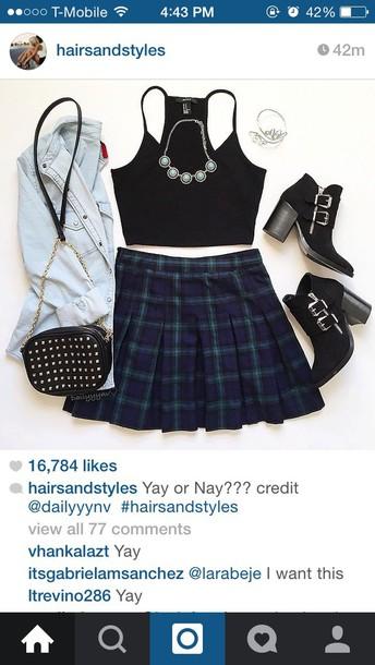 skirt plaid skirt school girl skirt tartan skirt