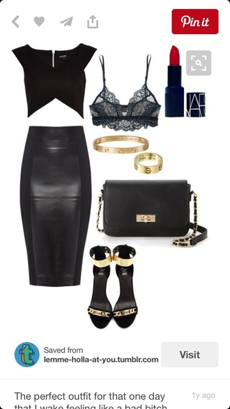 skirt top shoes outfit black leather skirt bossassbitch