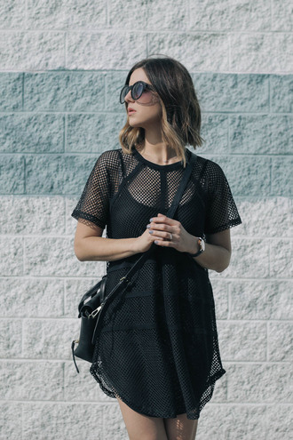 take aim blogger sunglasses mesh see through dress black dress oversized t-shirt urban dress bag jewels