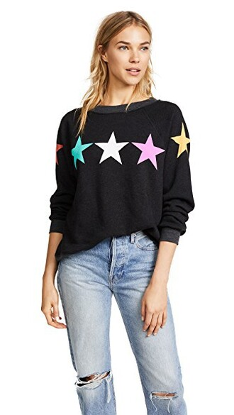 sweatshirt stars black sweater