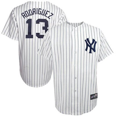 Majestic Alex Rodriguez New York Yankees Youth Replica Player Jersey - White/Navy Blue Pinstripe