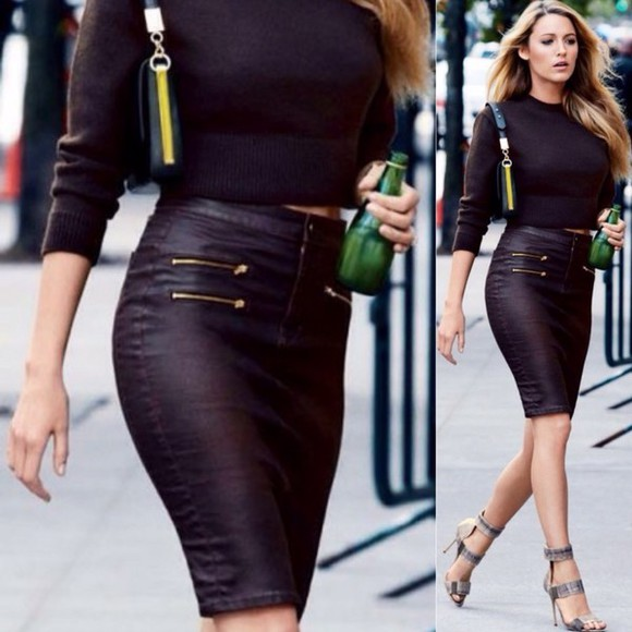 bag black bag winter outfits classy black skirt platform shoes high heels streetwear style streetstyle denim hot boots top t-shirt yellow summer outfits pencil skirt blake lively gossip girl serena van der woodsen black heels zip leather skirt leather bag make-up