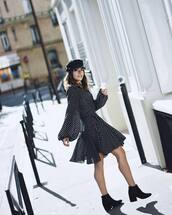 dress,hat,tumblr,midi dress,polka dots,long sleeves,long sleeve dress,boots,black boots,ankle boots,fisherman cap