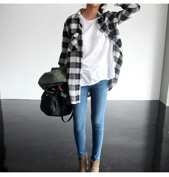 Casual Heels Outfit - Egzxm Blouse Jeans Skiny Jeans White Ankle Boots Bag Point Point Clothing Shoes Tumblr Outfit Casual