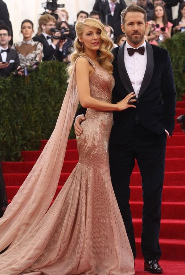 Dress Pink Red Carpet Blake Lively Pink Dress Gold