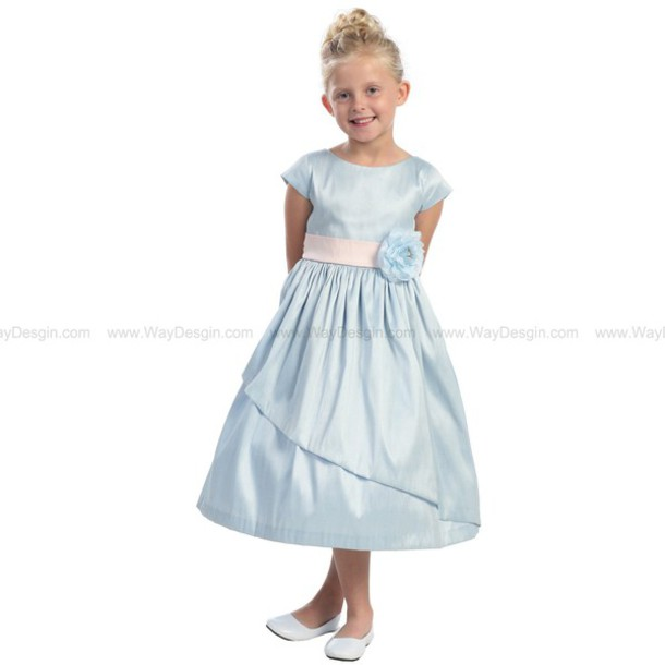 light blue poly dupioni dress sleeves blue flower girl dress flower girl dress