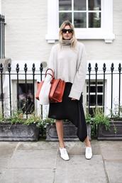 camille over the rainbow,blogger,oversized turtleneck sweater,leather bag,asymmetrical skirt