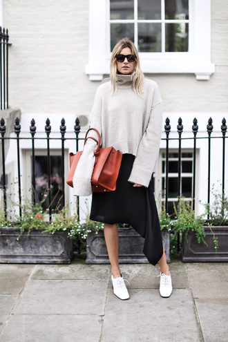 camille over the rainbow blogger oversized turtleneck sweater leather bag asymmetrical skirt
